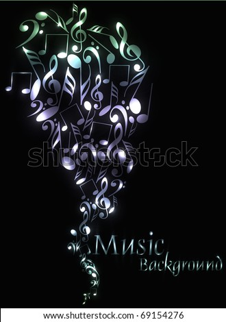 Musical theme background with music tunes, Editable Illustration
