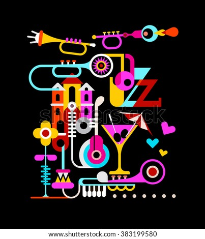 Musical theme vector collage featuring the Jazz text. - stock vector