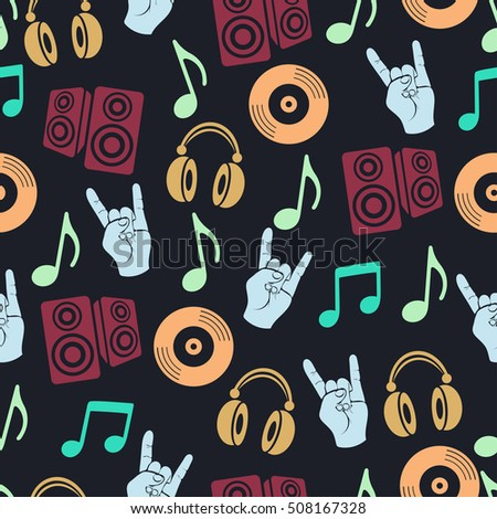 Musical vector background, music accessories seamless pattern. Silhouette drawing colorful music headphones, disk CD, plate, loudspeakers, notes and fingers gesture goat a dark background