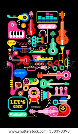 Musical vector composition. Graphic design of musical instruments and equipment, isolated on black background. - stock vector