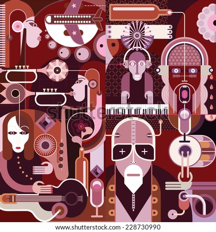 Musical vector illustration. People playing musical instruments. - stock vector