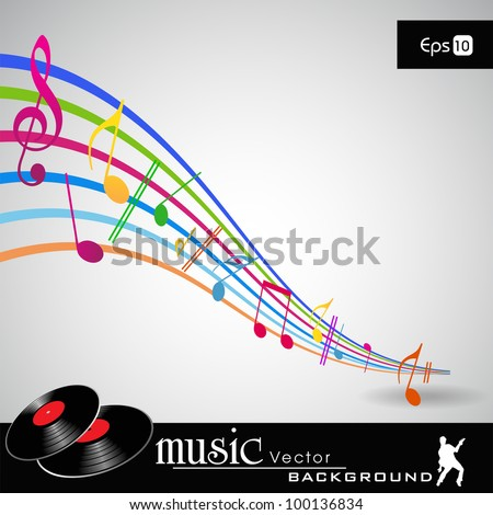 Musical wave background with shiny musical notes over grey color background. EPS 10. can be use as flyer, banner, poster for disco party and other events. - stock vector
