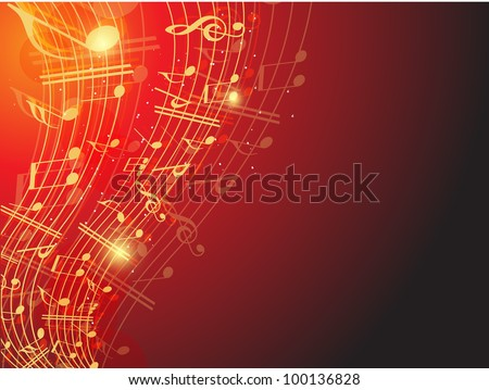 Musical wave background with shiny musical notes over red color background. EPS 10. can be use as flyer, banner, poster for disco party and other events. - stock vector