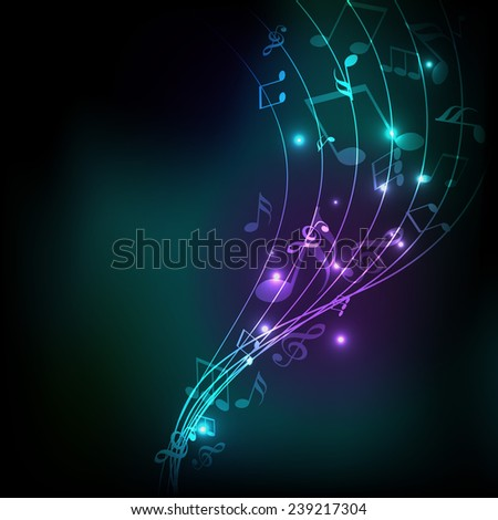 Musical wave background with shiny musical notes over stylish background. - stock vector