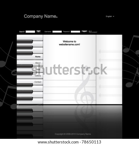 Musical website template. Piano keys and music paper - stock vector