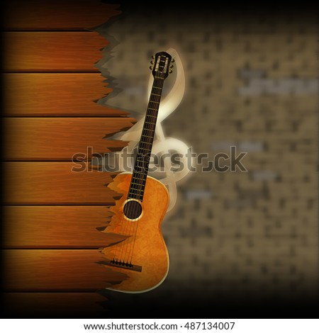 musical wooden planks with a guitar on a blurred background of an old brick wall and a treble clef.