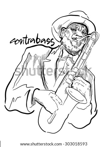 Musicans of jazz. Vector sketches. Man playing saxophone isolated on white background. Black and white vector sketch. Easy editable in several layers. Lineart sketch. Jazz theme inscriptions.