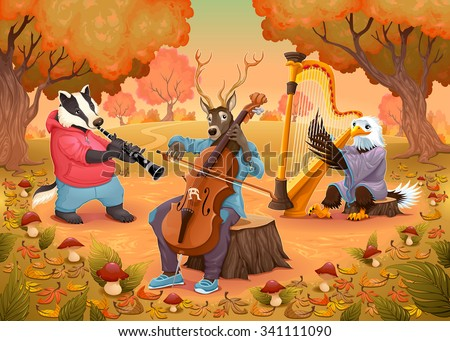 Musician animals in the wood. Cartoon and vector illustration.