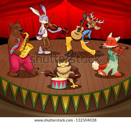 Musician animals on stage. Vector and cartoon illustration.
