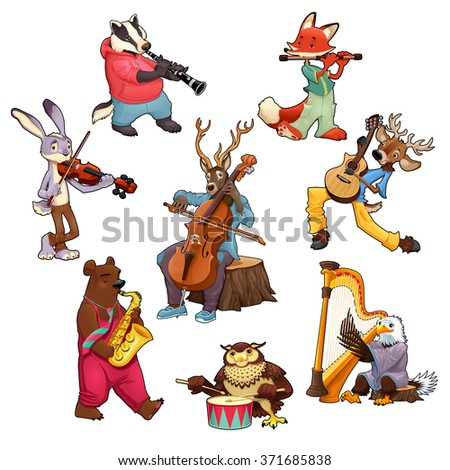 Musician cartoon animals. Vector isolated characters. - stock vector