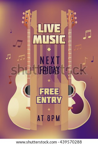 Musician concert show poster with acoustic guitar. Vector illustration. vector poster template. Printable concert promotion in bars, bars, public places. - stock vector
