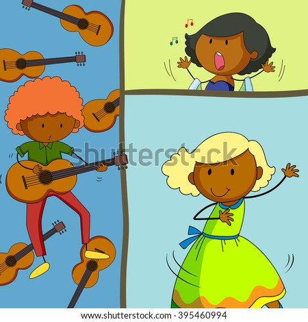 Musician playing guitar and girls singing illustration