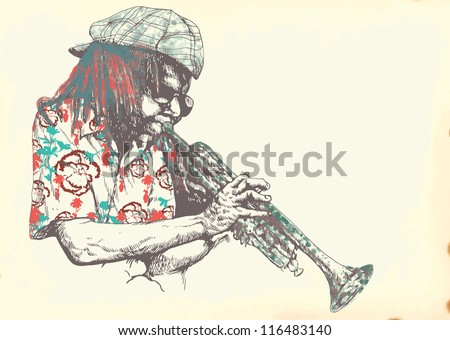 Musician: trumpet player. Vintage illustration of a music environment. Description: Editable in several layers (at least three layers). Number of colors in each layer: no more than six. - stock vector