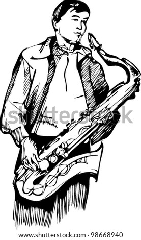 musician with a saxophone sketch arcwise