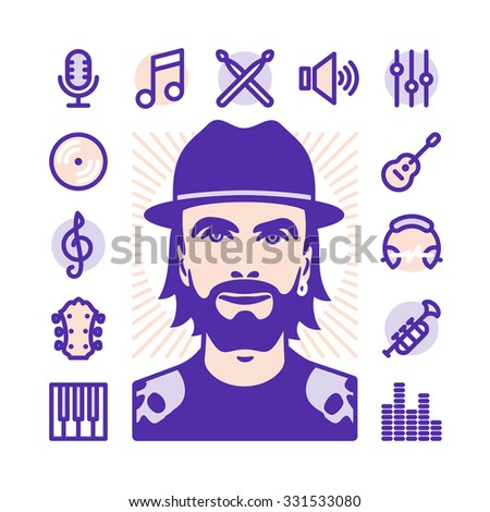 Musician with Fat Line Icons for web and mobile. Modern minimalistic flat design elements of media and music - stock vector