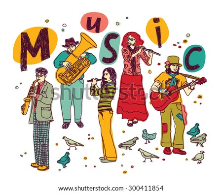 Musicians figures in full height separated on white. Color vector illustration. EPS 8. - stock vector