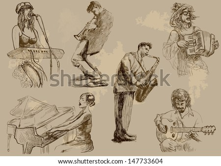 Musicians - Hand drawings illustrations into vector set  - stock vector