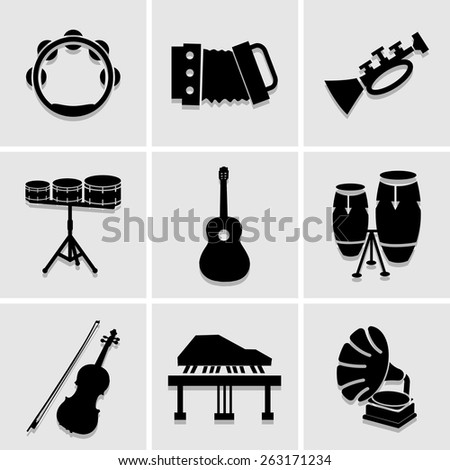 musicians  icons great for any use. Vector EPS10. - stock vector