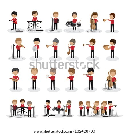 Musicians - Isolated On White Background - Vector Illustration, Graphic Design Editable For Your Design - stock vector