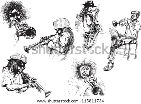 Musicians - Jazzmen. Collection of illustrations isolated on white background. - stock vector