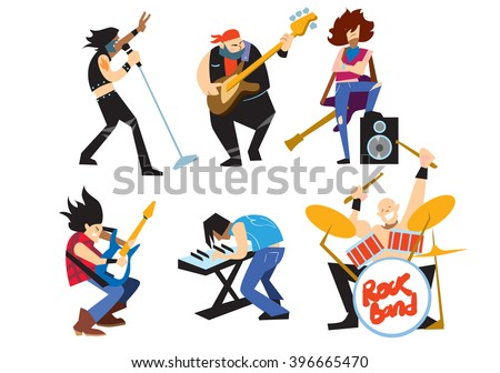 Musicians rock group isolated on white background. Rock star. Singer, guitarist, drummer, solo guitarist, bassist. Rock band isolated. Vector Rock musicians. Rock band instruments. Rock music. - stock vector
