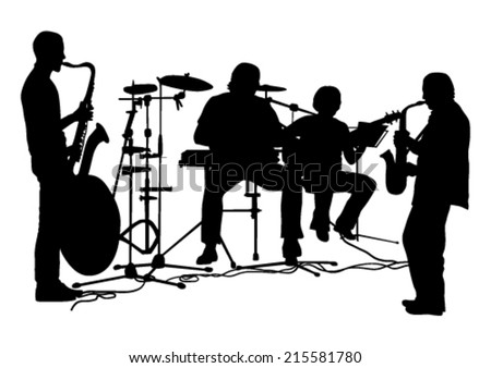 Musicians Silhouettes Set - stock vector