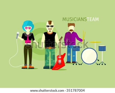 Musicians team people group flat style. Music and singer, artist and musical instruments, concert and instrument guitar, rock playing, stage and guitarist illustration - stock vector