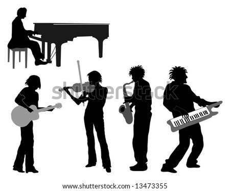 Musicians with Spiky hair (guitar, piano, violin, saxophone, keyboard) - stock vector