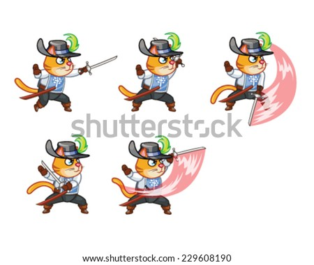Musketeer Cat Attacking Sprite - stock vector