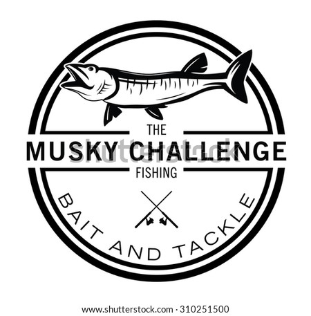 Musky Fishing fish label badge - stock vector