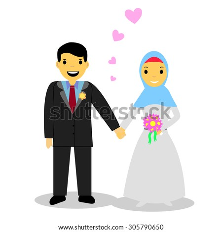 Muslim and Muslimah bride couple, isolated on white  - stock vector