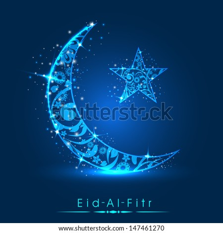 Muslim community festival Eid Al Fitr (Eid Mubarak) concept with decorated shiny moon and star on shiny blue background.  - stock vector