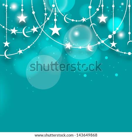 Muslim community festival Eid Mubarak background with shiny hanging stars on sky blue background. - stock vector