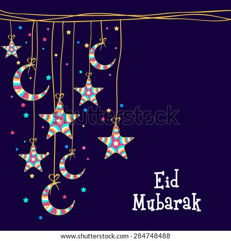 Muslim community festival, Eid Mubarak celebration greeting card decorated with colorful moons and stars hanging on blue background. - stock vector