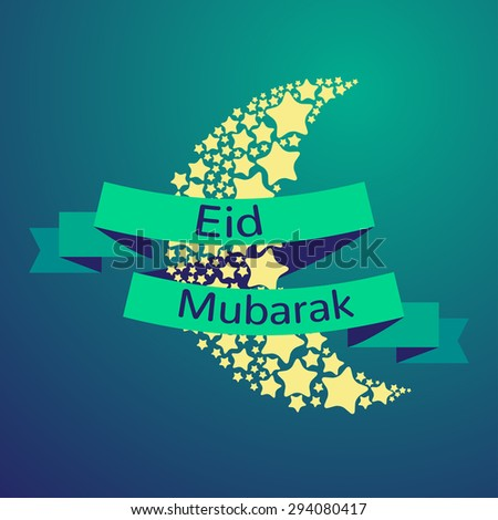 Muslim community festival, Eid Mubarak celebration greeting card decorated with golden stars and moon on background. Ramadan kareem.