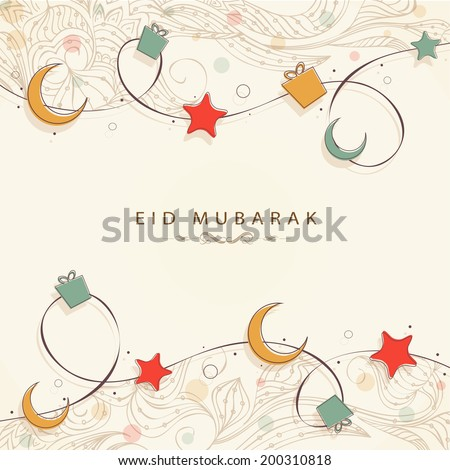 Muslim community festival Eid Mubarak celebrations background with golden moon and stars on beige background.  - stock vector