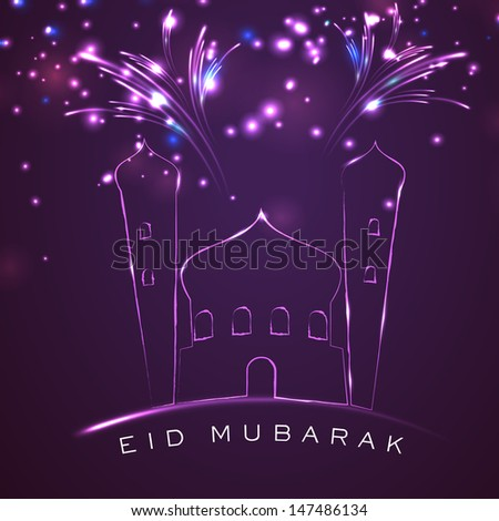 Muslim community festival Eid Mubarak concept with mosque and fireworks on shiny purple background.  - stock vector