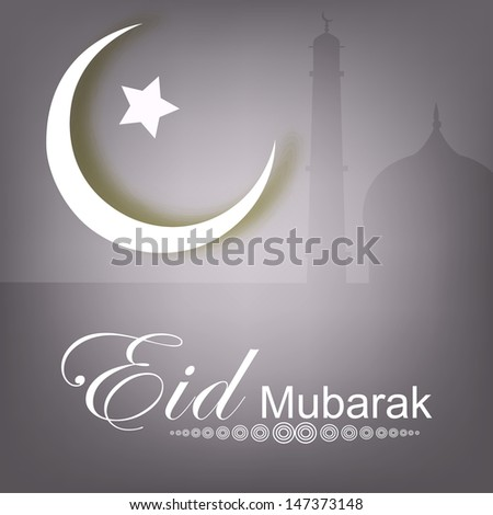 Muslim community festival Eid Mubarak concept with mosque, moon and star.