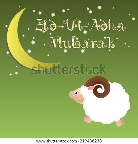 Muslim community festival of sacrifice Eid Ul Adha greeting card, background with sheep moon and stars. Free font used. - stock vector