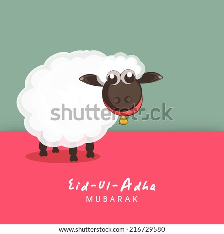 Muslim community festival of sacrifice Eid-Ul-Adha greeting card design with sheep on colorful background.  - stock vector