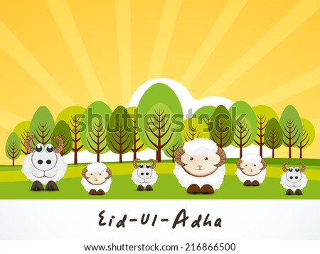 Muslim community festival of sacrifice Eid-Ul-Adha greeting card design with sheep on nature background. - stock vector