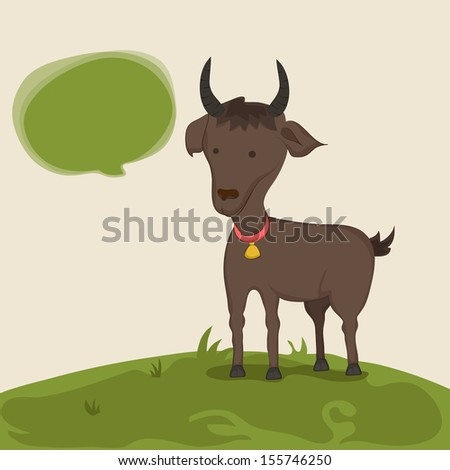 Muslim community festival of sacrifice Eid Ul Adha greeting card or background with goat on abstract background.  - stock vector