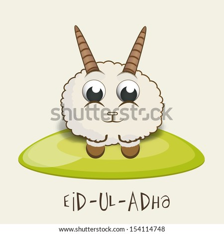 Muslim community festival of sacrifice Eid Ul Adha greeting card or background with sheep on abstract background.  - stock vector