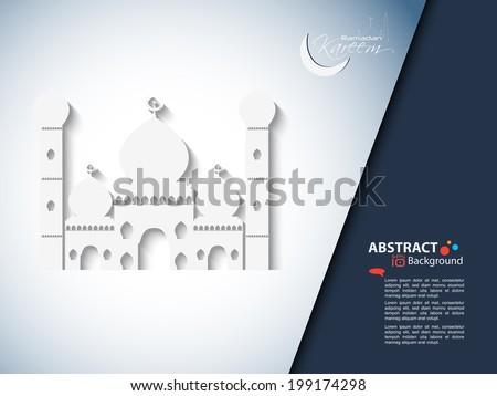 Muslim community festival Ramadan Kareem with Beautiful greeting card design and background vector illustration... Beautiful Mosque and Masjid for Ramadan Kareem and eid  EPS 10. - stock vector