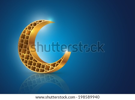Muslim community symbol for Eid Mubarak or Ramadan. Vector decorative crescent moon on blue background. Elements are layered separately in vector file. - stock vector
