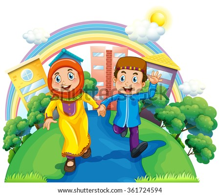 Muslim couple holding hands illustration