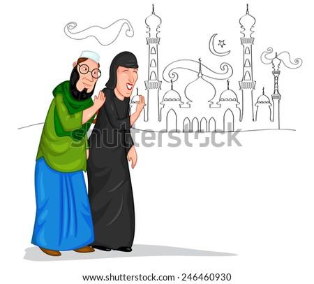 Muslim couple welcoming in vector - stock vector