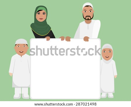 Muslim family with sign - stock vector