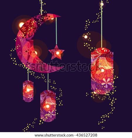 Cool Dinner Eid Al-Fitr Decorations - stock-vector-muslim-festival-eid-al-fitr-eid-mubarak-and-ramadan-concept-with-decorated-moon-and-star-vector-436527208  Photograph_38533 .jpg