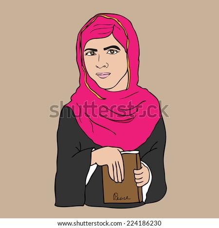 Muslim girl book and peace cartoon vector - stock vector
